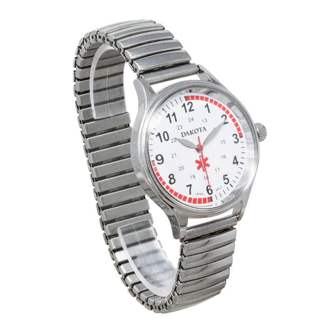 Nurse Watch Stainless Steel Stretch Band Pulse Quadrant Dakota 53798