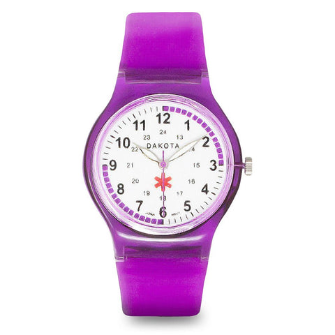 Nurses Medical Scrub Watch Easy Clean Purple Band Pulse Dakota 27378
