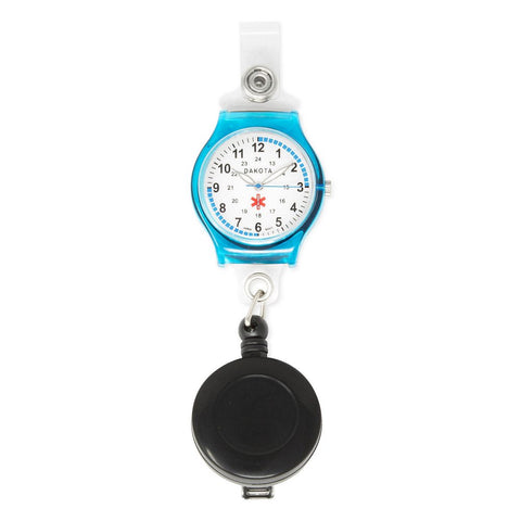 Nurses Medical Watch Blue Clip-on Retractable  Holder Dakota 27405