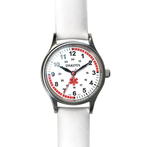 Nurses Watch Leather Sport White Pulse Quadrant Charting Dakota 56548