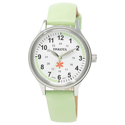 Nurses Watch Pulse Quadrant Chart Green Leather Band Dakota 53914