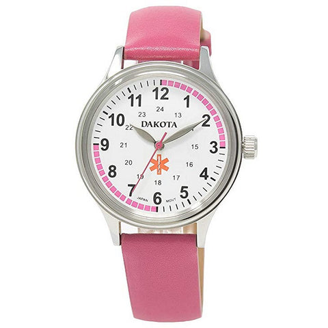 Nurses Watch Pulse Quadrant Chart Pink Leather Band Dakota 53936