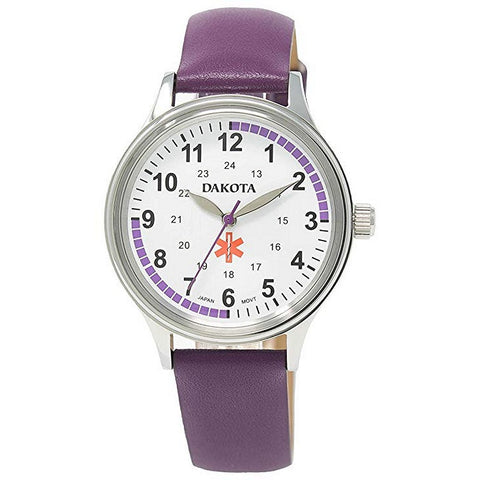 Nurses Watch Pulse Quadrant Chart Purple Leather Band Dakota 53925