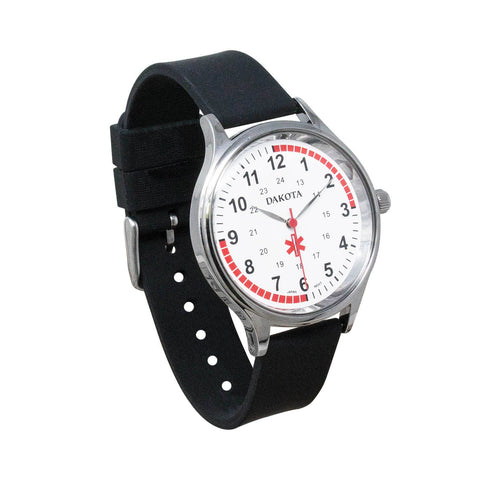 Nurses Watch Unisex Black Silicone Band Pulse Quadrant Dakota 53753