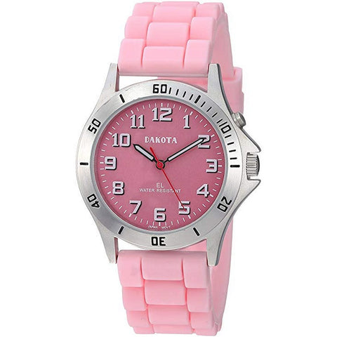 Nursing Watch Light-Up Dial Pink Easy Clean Silicone Band Dakota 53832