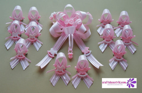 Complete Set Of 1 Girl Baby Shower Corsage And 12 Piece Girl Baby Shower  Guest