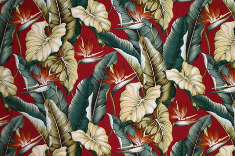 Bird Of  Paradise Red Upholstery Fabric