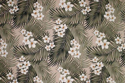 Plumeria Palm - Cream on Bark Kahala Upholstery Fabric