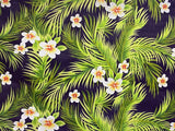 All Over Plumeria Flowers & Palm Leaves Print
