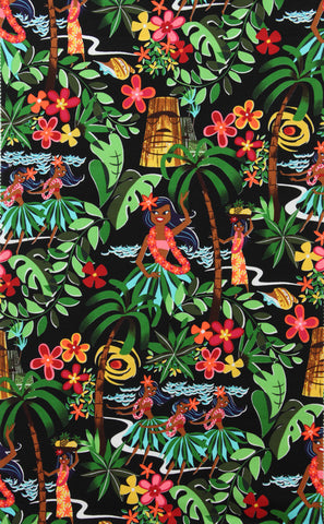 Aloha Luau Beach Scene Black Fabric