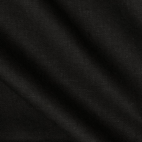 Black Solid Polylinen Fabric