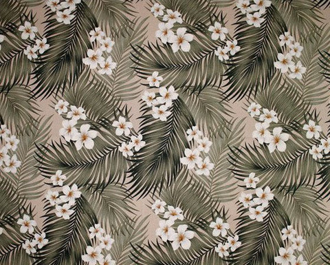 Tropical Hawaiian Plumeria Palm Flowers Upholstery Barkcloth Biege  Fabric