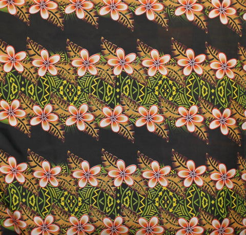 Hibiscus Stripped Green Fabric