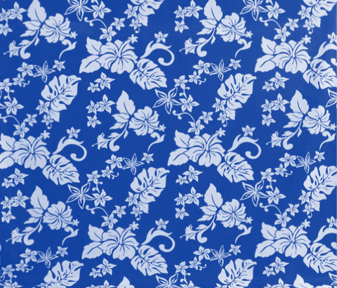 Hawaiian Hibiscus Floral Blue Fabric