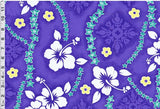 Hibiscus Lei Tribal Purple Fabric
