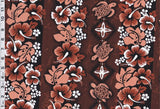Hibiscus Turtle Rows Rust Fabric