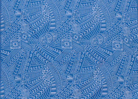 Hawaiian Flocking Tribal Blue Fabric