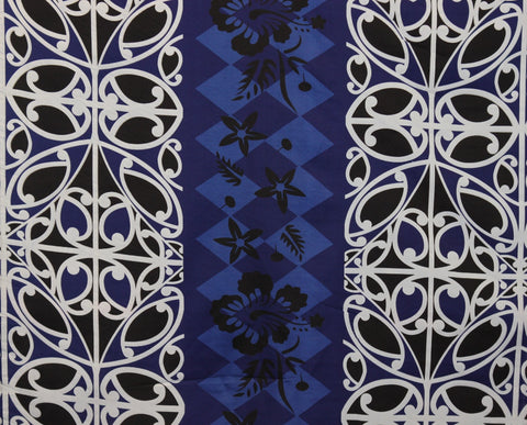 Polynesian Hibiscus Flower Printed Design Fabric Blue