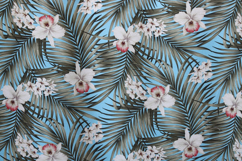 Tropical Hawaiian Plumeria Fern Orchid Flower Upholstery Barkcloth Blue Fabric