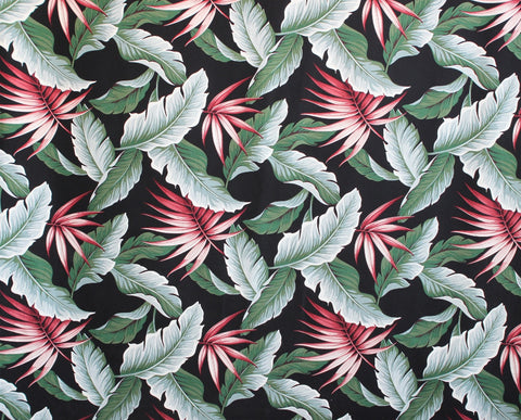 Black Leaf Barkcloth Upholstery Fabric
