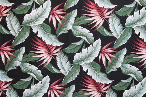 MOLOKINI NATURAL Upholstery Barkcloth Black Fabric