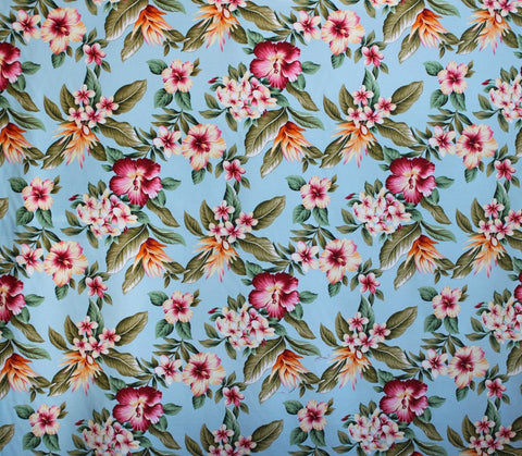 Hibiscus Plumeria Blue Upholstery Barkcloth Fabric