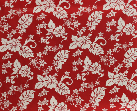 Hawaiian Hibiscus Floral Red Fabric