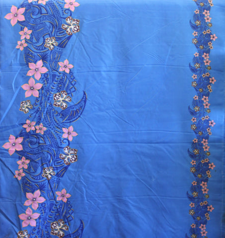 Double Border Plumeria Floral Tribal Blue Fabric