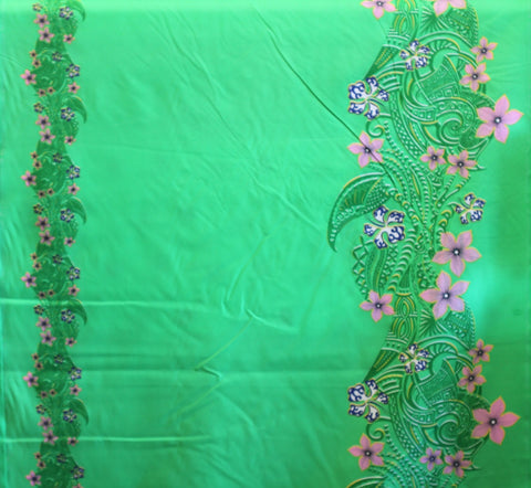 Double Border Plumeria Floral Tribal Green Fabric