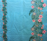 Double Border Plumeria Floral Tribal Turquoise Fabric