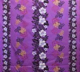 Double Border Hibiscus Floral Purple Fabric