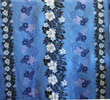 Double Border Hibiscus Floral Blue Fabric