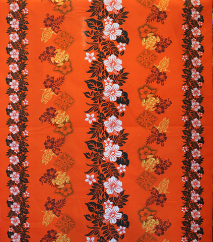 Double Border Hibiscus Floral Orange Fabric