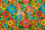Green Background Multi Flower OilCloth Fabric