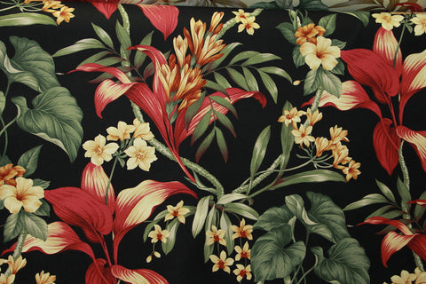 Floral Upholstery Barkcloth Black Fabric