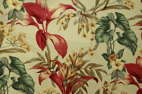 Hawaiian Tropical Upholstery Barkcloth Cream Fabric