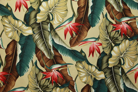 Hawaiian Tropical Bird Of Paradise Upholstery Barkcloth Cream Fabric