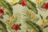 Hibiscus Floral Upholstery Barkcloth cream Fabric