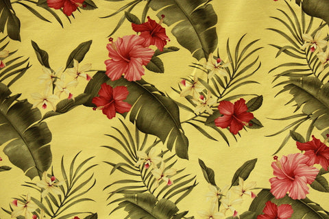 Hibiscus Floral Design Yellow Barkcloth Upholstery Fabric