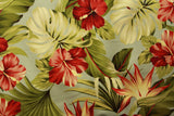Hibiscus Floral Upholstery Barkcloth Powder Blue Fabric