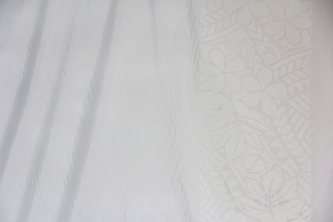 Plumeria  Tattoo  Border White Fabric