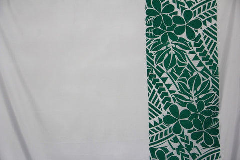 Plumeria Tattoo Border White /green Fabric