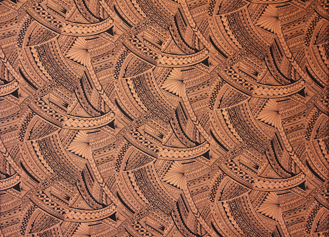 Samoan Tattoo with flowers All over print Brown