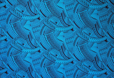 SAMOAN FLORAL TATTOO Blue FABRIC