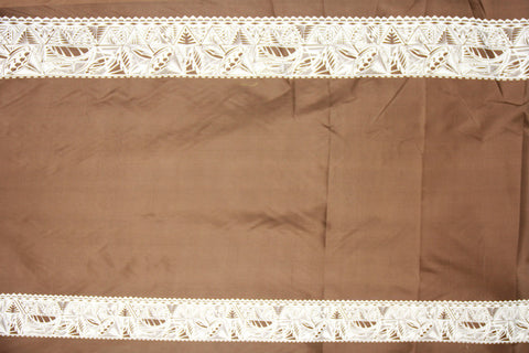 Tribal Double Border Brown Fabric