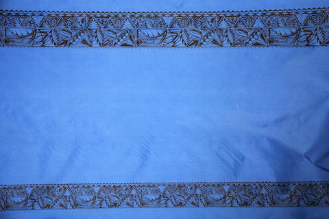 Tribal Double Border Print Blue Fabric