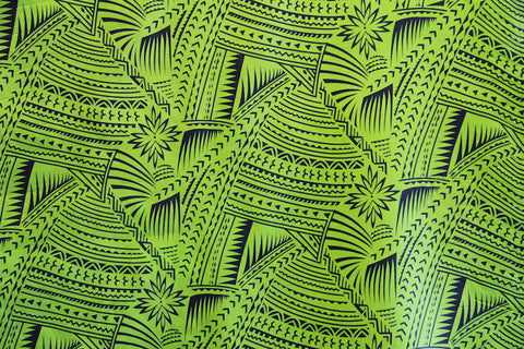 Hawaiian Tattoo Flocking Green Fabric