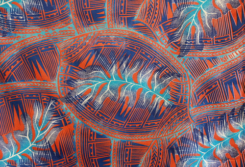 Tribal Hawaiian Leaves Orange Fabric