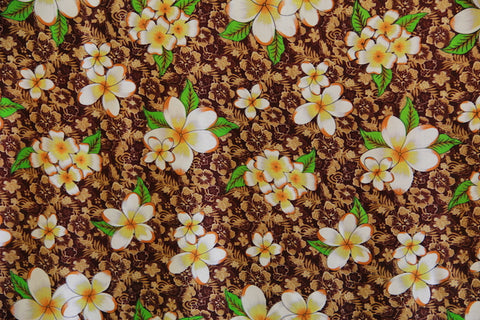 Plumeria Flowers in Hibiscus Background Brown Rayon Fabric