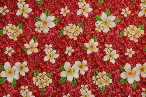 Plumeria Flowers in Hibiscus Background Red Rayon Fabric
